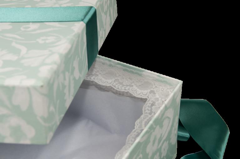 Detail of lace trim inside Wedding Dress Boxes