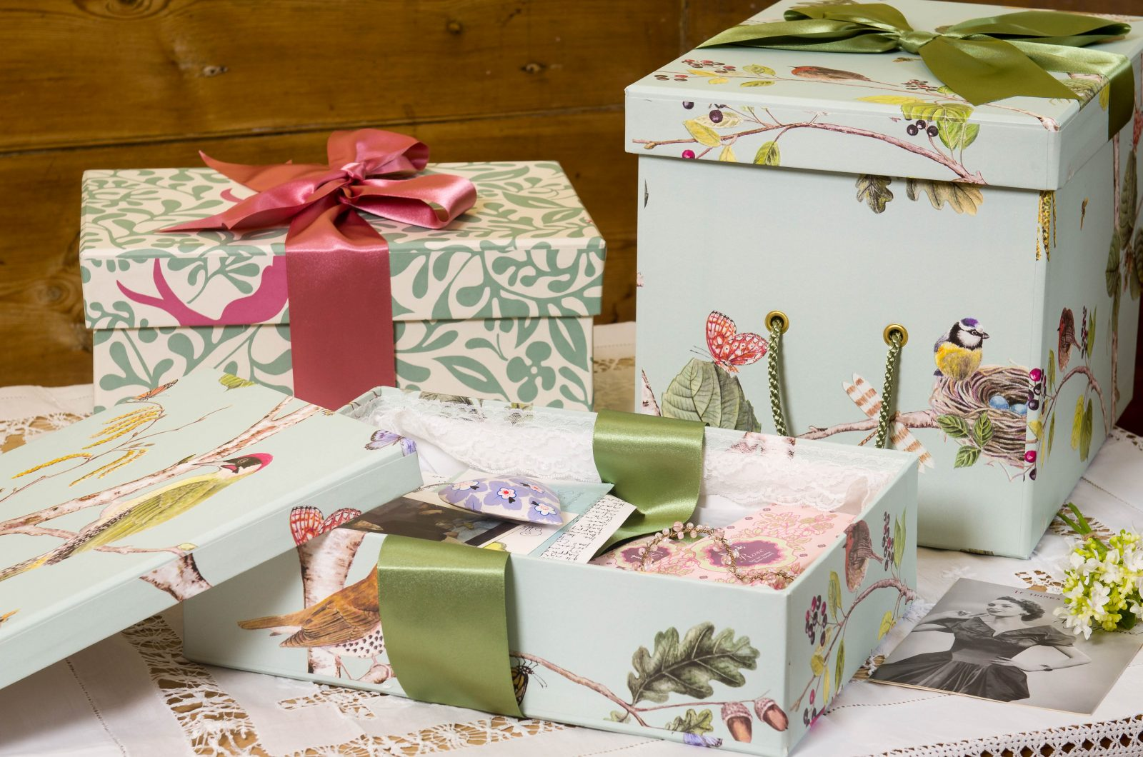 memory Boxes in Woodland and Larksong Fern