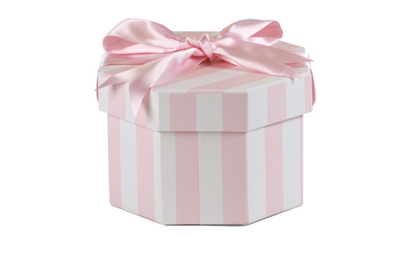 Octagonal Hat Box in Parisienne Pink Design